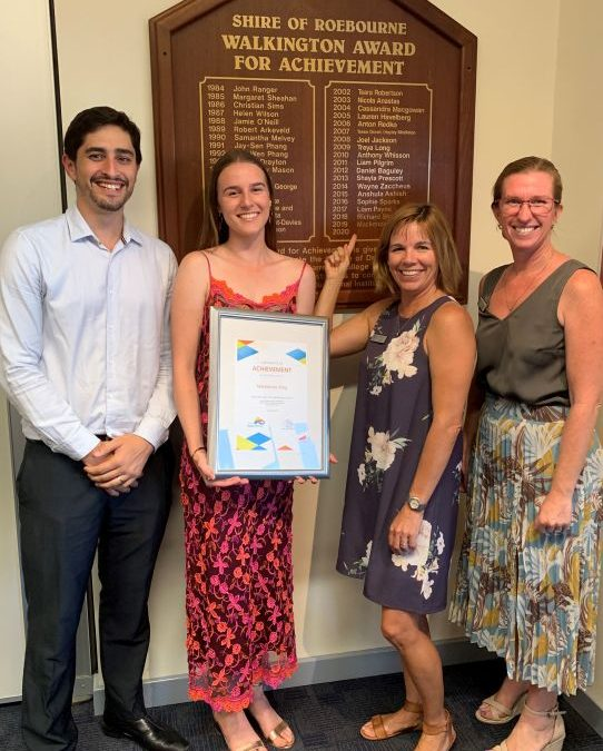 Mackenzie King wins the Karratha council 2019 Walkington Award